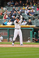 Efren Navarro (16) of the Salt Lake Bees at bat against the Memphis Redbirds at Smith's Ballpark on June 18, 2014 in Salt Lake City, Utah.  (Stephen Smith/Four Seam Images)