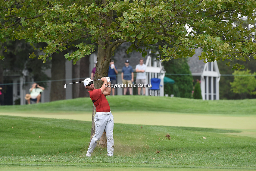 August 6, 2016: Paul Casey of England watches th flight of his ball from the edge of the 6th fairway during day three of the PGA Travelers Championship held at TPC River Highlands in Cromwell CT. Eric Canha/CSM