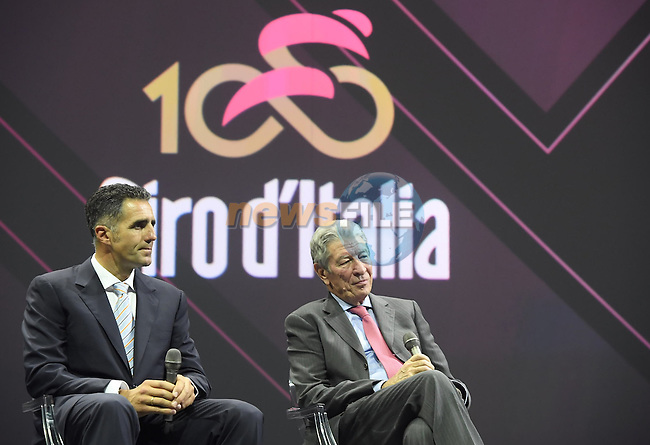 Former winners Miguel Indurain (ESP) and Felice Gimondi (ITA) on stage at the 100th edition Giro d`Italia 2017 route presentation held at the Ice Palace in Milan, 25th October 2016.<br /> Picture: ANSA/Claudio Peri | Newsfile<br /> <br /> <br /> All photos usage must carry mandatory copyright credit (&copy; Newsfile | ANSA/Claudio Peri)