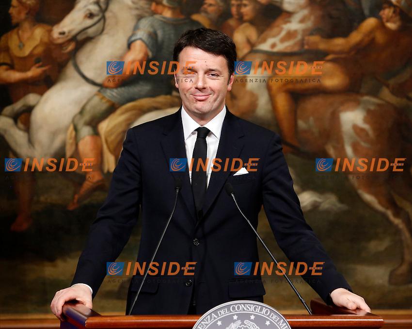 Matteo Renzi<br /> Roma 03-02-2015 Palazzo Chigi. Il Presidente del Consiglio incontra il Primo Ministro greco.<br /> Italian premier meets greek Prime Minister.<br /> Photo Samantha Zucchi Insidefoto