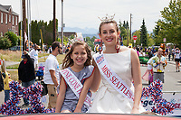 Miss Seattle Teen & Miss Pine Cone Princess, Colors of Freedom Parade, 4th of July, Everett, WA, USA.
