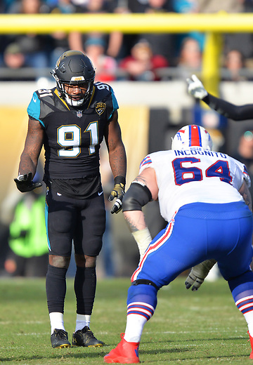 Jacksonville Jaguars defensive end Yannick Ngakoue (91) against the Buffalo Bills in a NFL Wildcard Playoff game Sunday, January 7, 2018 in Jacksonville, Fl.  (Rick Wilson/Jacksonville Jaguars)
