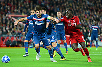 Crvena Zvezda's Filip Stojkovic fouls Liverpool's Sadio Mane to concede a penalty<br /> <br /> Photographer Richard Martin-Roberts/CameraSport<br /> <br /> UEFA Champions League Group C - Liverpool v Crvena Zvezda - Wednesday 24th October 2018 - Anfield - Liverpool<br />  <br /> World Copyright © 2018 CameraSport. All rights reserved. 43 Linden Ave. Countesthorpe. Leicester. England. LE8 5PG - Tel: +44 (0) 116 277 4147 - admin@camerasport.com - www.camerasport.com