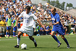 04 September 2011: Duke's Christopher Tweed-Kent (19) and SMU's Payton Hickey (2). The Southern Methodist University Mustangs defeated the Duke University Blue Devils 1-0 in overtime at Koskinen Stadium in Durham, North Carolina in an NCAA Division I Men's Soccer game.