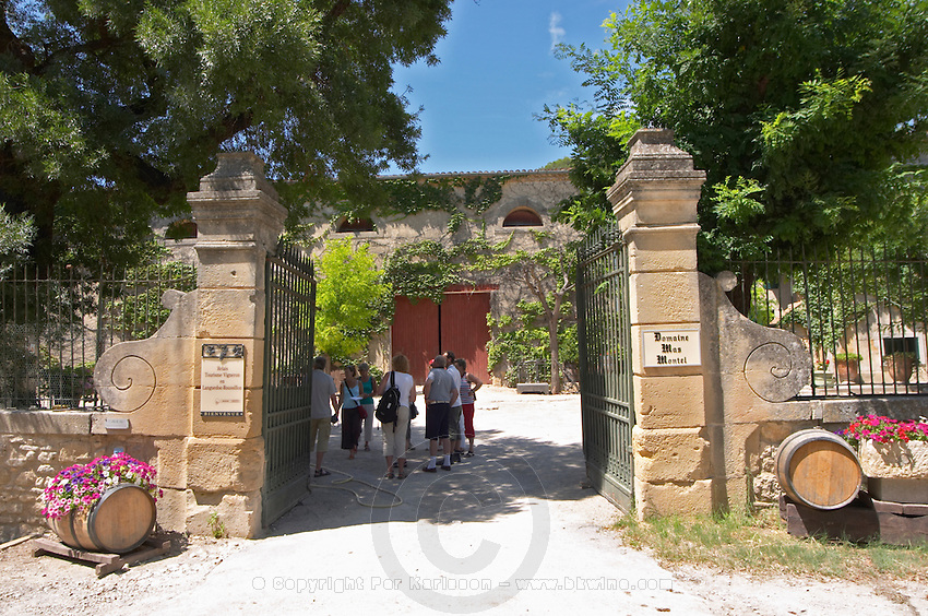 Entrance gate to winery. Mas Montel, Sommieres, Languedoc, France