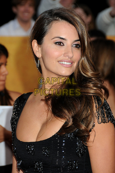 PENELOPE CRUZ .16th Annual Screen Actors Guild Awards - Arrivals held at The Shrine Auditorium,  Los Angeles, California, USA, .23rd January 2010..SAG SAGs portrait headshot black beaded cleavage profile silver earring .CAP/ADM/BP.©Byron Purvis/Admedia/Capital Pictures