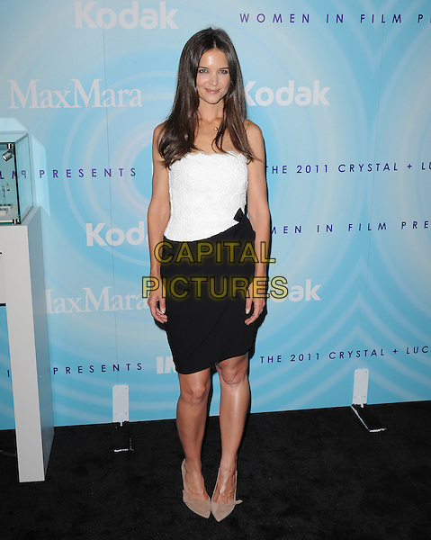 Katie Holmes.2011 Women In Film Crystal + Lucy Awards held at the Beverly Hilton Hotel, Beverly Hills, California, USA..June 16th, 2011.full length top skirt black white beige shoes .CAP/RKE/DVS.©DVS/RockinExposures/Capital Pictures.