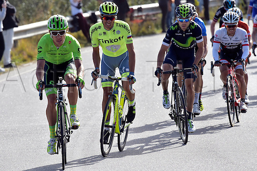 21.02.2016. Almodovor, Algarve, Portugal.  CONTADOR VELASCO Alberto (ESP)  of TINKOFF and URAN URAN Rigoberto (COL)  of CANNONDALE PRO CYCLING TEAM in action during stage 5 of the 42nd Tour of Algarve cycling race with start in Almodovar and finish in Malhao (Loule) on February 21, 2016 in Malhao, Portugal.