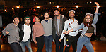 """Marc dela Cruz, Anthony Lee Medina, Sasha Hollinger, Greg Treco, Terrance Spencer, Elizabeth Judd with Lin-Manuel Miranda making a surprise appearance during a Q & A before The Rockefeller Foundation and The Gilder Lehrman Institute of American History sponsored High School student #EduHam matinee performance of """"Hamilton"""" at the Richard Rodgers Theatre on 3/20/2019 in New York City."""