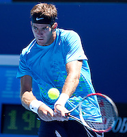 JUAN MARTIN DEL POTRO (ARG) against ADRIAN MANNARINO (FRA) in the First Round of the Men's Singles. Juan Martin Del Potro beat Adrian Mannarino 2-6 6-1 7-5 6-4...16/01/2012, 16th January 2012, 16.01.2012..The Australian Open, Melbourne Park, Melbourne,Victoria, Australia.@AMN IMAGES, Frey, Advantage Media Network, 30, Cleveland Street, London, W1T 4JD .Tel - +44 208 947 0100..email - mfrey@advantagemedianet.com..www.amnimages.photoshelter.com.