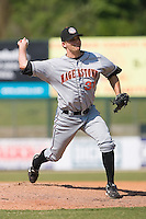 Relief pitcher Kyle Gunderson (31) of the Hagerstown Suns in action versus the Kannapolis Intimidators at Fieldcrest Cannon Stadium in Kannapolis, NC, Monday May 26, 2008.