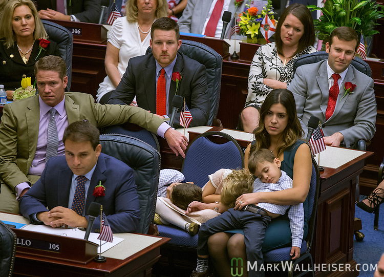 Florida Representative Carlos Trujillo, R-Doral, with his family in the House chamber as they held their organizational session of the Florida Legislature in Tallahassee, FL November 22, 2016.