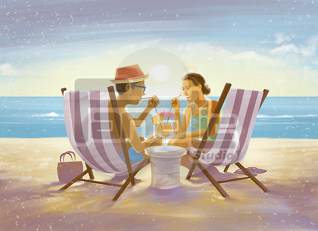 Illustration of couple drinking from glass while sitting on deck chairs on beach