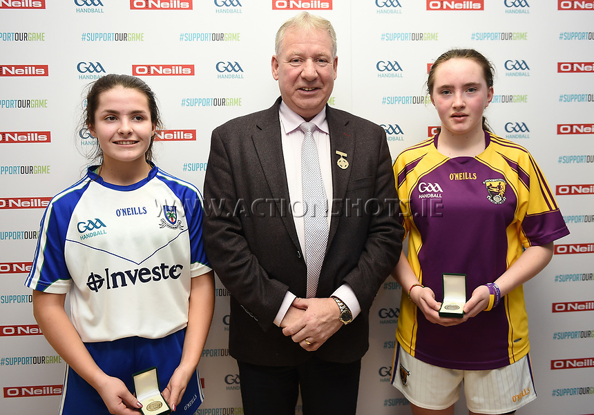 19/03/2018; 40x20 All Ireland Juvenile Championships Finals 2018; Kingscourt, Co Cavan;<br /> Girls Under-15 Singles; Wexford (April Moran) v Monaghan (Louise McGinnity) <br /> GAA Handball President Joe Masterson<br /> Photo Credit: actionshots.ie/Tommy Grealy