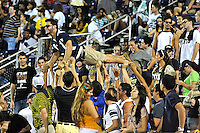 24 September 2011:  A fan is held aloft to do pushups in celebration of an FIU touchdown.  The University of Louisiana-Lafayette Ragin Cajuns defeated the FIU Golden Panthers, 36-31, at FIU Stadium in Miami, Florida.