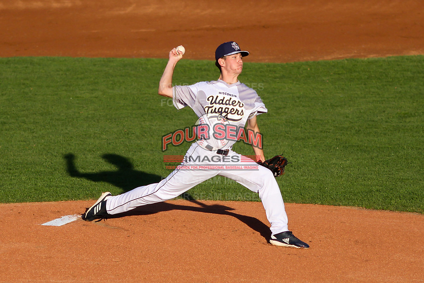 Wisconsin Timber Rattlers pitcher Justin Jarvis (11) delivers a pitch during a Midwest League game against the Clinton LumberKings on June 20, 2019 at Fox Cities Stadium in Appleton, Wisconsin. Wisconsin defeated Clinton 5-2. (Brad Krause/Four Seam Images)