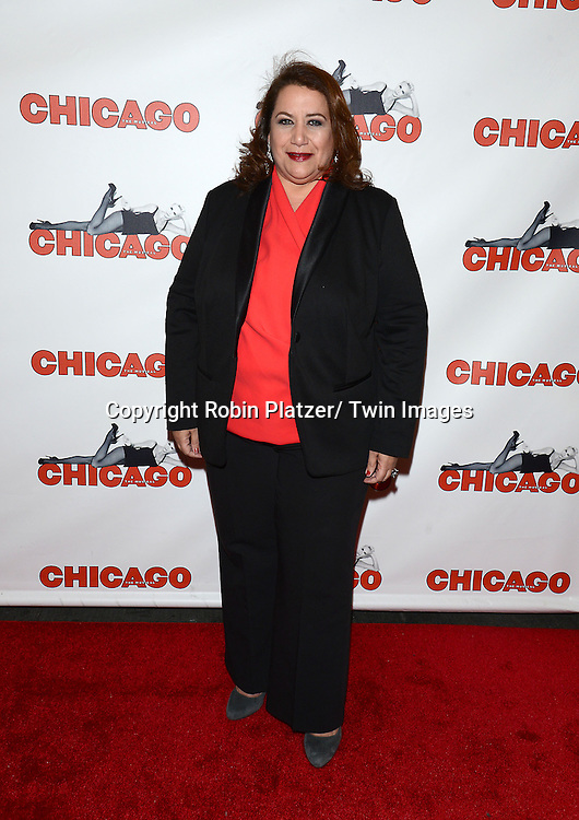 """NYC Commissioner of Media and Entertaqinment  Cynthia Lopez attends """"Chicago""""  becoming the 2nd Longest Running Show on Broadway at performance 7486 on November 23, 2014 at the Ambassodor Theatre in New York City."""