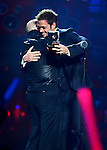 MIAMI, FL - JULY 17: Pitbull and William Levy onstage during the Premios Juventud 2014 Awards at BankUnited Center on July 17, 2014 in Miami, Florida. (Photo by Johnny Louis/jlnphotography.com)