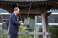 NEW YORK CITY, UNITED STATES SEPTEMBER 16, 2016: Secretary-General Ban Ki-moon rings the Peace Bell at the annual ceremony held at UN headquarters in observance of the International Day of PeacePhoto by VIEWpress/Maite H. Mateo
