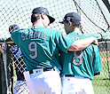 (L-R) Scott Servais, Norichika Aoki (Mariners),<br /> FEBRUARY 25, 2016 - MLB :<br /> Seattle Mariners' manager Scott Servais talks with Norichika Aoki during the Seattle Mariners spring training baseball camp in Peoria, Arizona, United States. (Photo by AFLO)