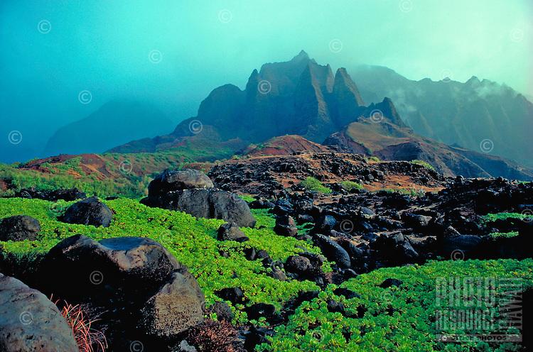 Kalalau cathedrals, Na Pali coast, Island of Kauai