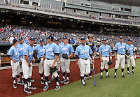 North Carolina gathers before facing Vanderbilt at TD Ameritrade Park. Vanderbilt's 5-1 win eliminated North Carolina from the College World Series in Omaha, Neb. (Photo by Michelle Bishop)..