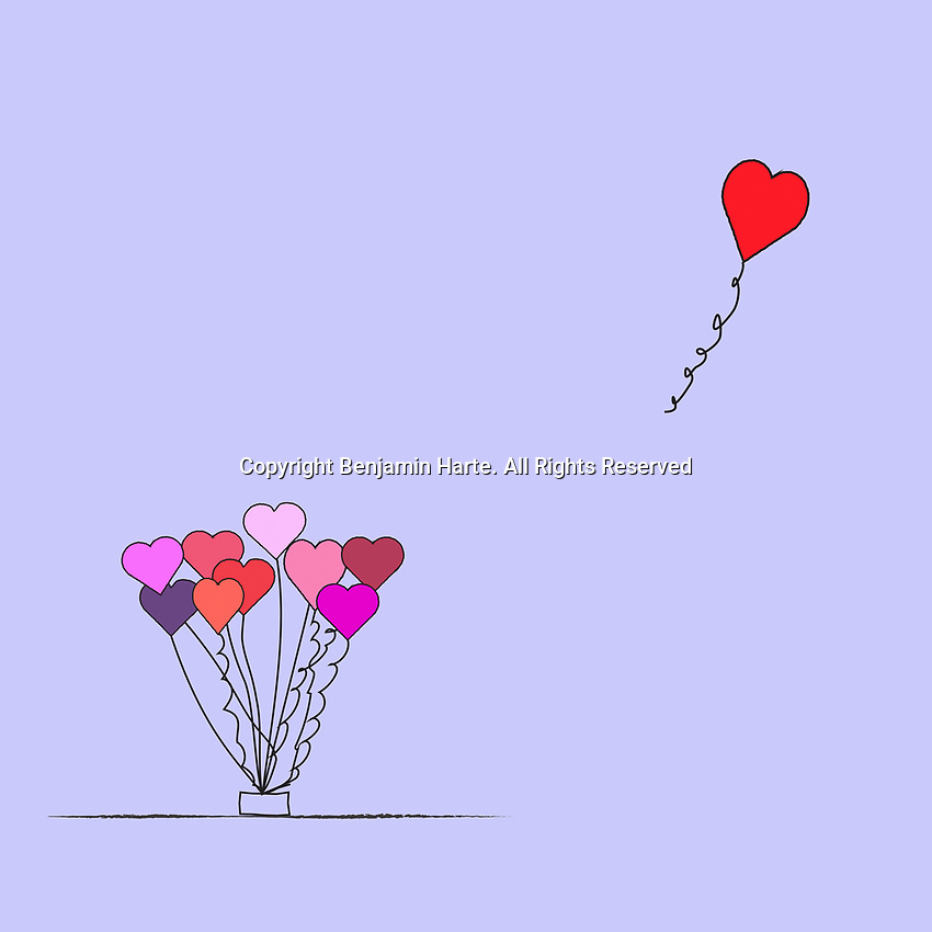 Valentine balloon floating away from the bunch