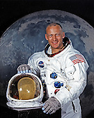 """Houston, TX - File photo -- Portrait of Edwin E. """"Buzz"""" Aldrin,Jr., Lunar Module (LM) Pilot of Apollo 11 Lunar Landing Mission taken on May 1, 1969.  Apollo 11 was Aldrin's second and final trip to space.  He previously piloted the Gemini 12 mission on November 11, 1966.  On that mission Aldrin completed 5 1/2 hours of extravehicular activity (EVA).  Apollo 11 launched on July 16, 1969.  Aldrin became the second human to set foot on the moon on July 20, 1969..Credit: NASA via CNP"""