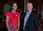 British heptathlete Katarina Johnson Thompson, who is aiming to be selected for the Team GB squad for the 2012 London Olympics, pictured at the Adelphi Hotel, in her native city of Liverpool.. with her sponsor Barrie Wells.