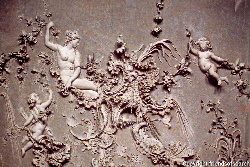 Wurzburg: Residence--detail of plasterwork on ceiling of the White Room. Photo '87.