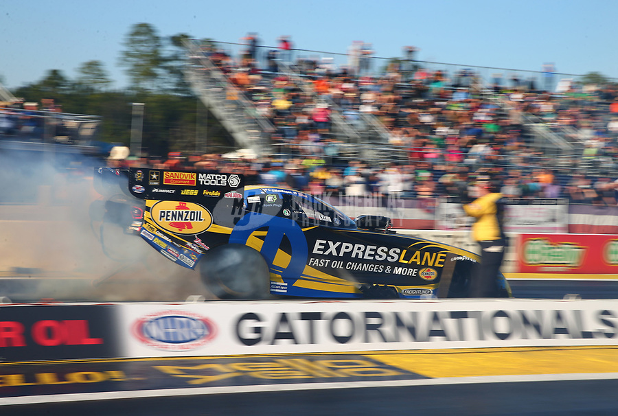 Mar 17, 2017; Gainesville , FL, USA; NHRA funny car driver Matt Hagan during qualifying for the Gatornationals at Gainesville Raceway. Mandatory Credit: Mark J. Rebilas-USA TODAY Sports