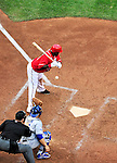 24 April 2010: Washington Nationals' infielder Cristian Guzman is pushed back by a pitch during a game against the Los Angeles Dodgers at Nationals Park in Washington, DC. The Dodgers edged out the Nationals 4-3 in a thirteen inning game. Mandatory Credit: Ed Wolfstein Photo