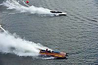 """Bob Hampton, GP-182, Xanadu, (1982 Grand Prix class pickle-fork Lauterbach hydroplane), Scott Kirshner, F-266 """"Miss Supersonic II"""" , 266 class hydroplane"""