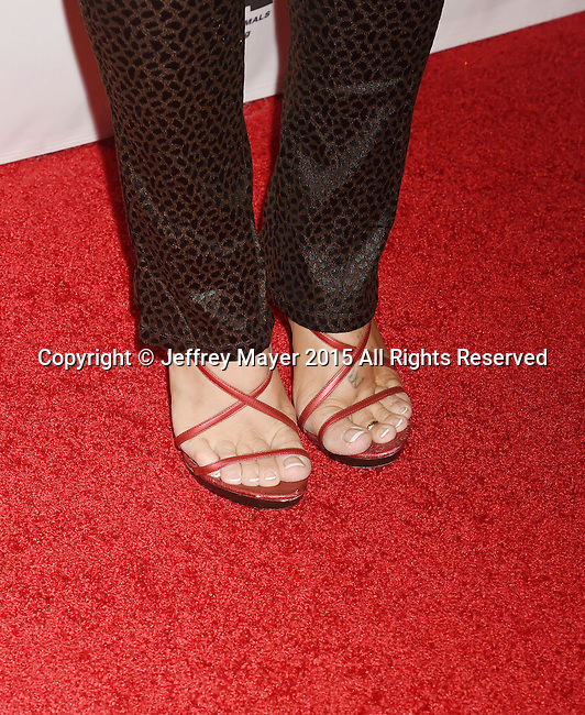 BEVERLY HILLS, CA - OCTOBER 24: Actress Donna D'Errico, shoe detail, at the Last Chance for Animals Benefit Gala at The Beverly Hilton Hotel on October 24, 2015 in Beverly Hills, California.