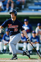Brian Lloyd of the Cal State Fullerton Titans bats during a 1996 NCAA baseball season game against the Pepperdine Waves at Eddy D. Field Stadium in Malibu, California. (Larry Goren/Four Seam Images)