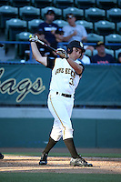 Alex Muzzi (31) of the Long Beach State Dirtbags bats against the Arizona State Sun Devils at Blair Field on February 27, 2016 in Long Beach, California. Long Beach State defeated Arizona State, 5-2. (Larry Goren/Four Seam Images)