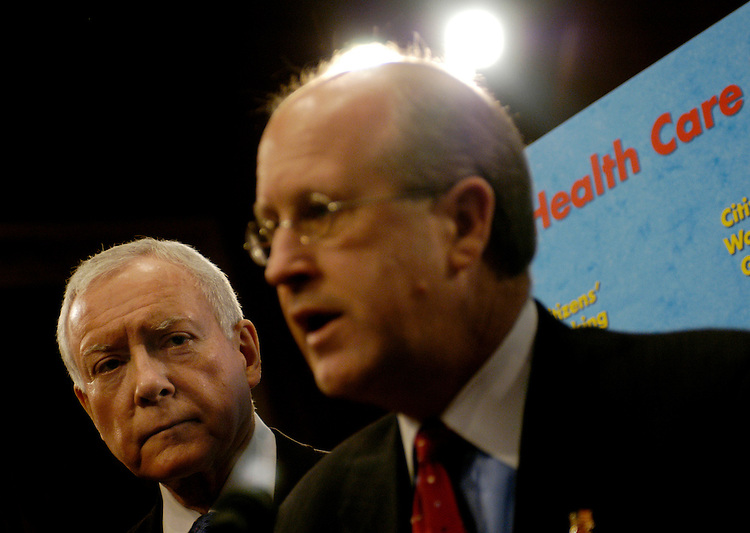 Sen. Orrin Hatch, R-Ut. (L), and GAO Comptroller David Walker (C), at a press conference announcing the formation of the Citizens' Health Care Working Group. The group, created by Congress, will work for two years on a national dialogue of health care issues and submit a summary report . at a press conference announcing the formation of the Citizens' Health Care Working Group. The group, created by Congress, will work for two years on a national dialogue of health care issues and submit a summary report .