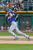 Gavin Cecchini (1) of the Las Vegas 51s follows through on his swing against the Salt Lake Bees during the Pacific Coast League game at Smith's Ballpark on September 4, 2016 in Salt Lake City, Utah. The Bees defeated the 51s 4-3. (Stephen Smith/Four Seam Images)