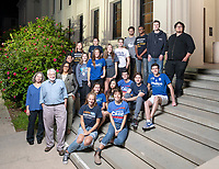 Peter Dreier, E.P. Clapp Distinguished Professor of Politics; Professor, Urban & Environmental Policy; Regina Freer, Professor, Politics; Advisory Committee, Black Studies, Urban and Environmental Policy and Marisa Grover Mofford, Associate Director, International Programs pose with the students involved in Campaign Semester outside Fowler Hall, November, 27, 2018.<br />