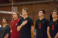 STANFORD, CA - January 2, 2018: Kyle Dagostino, Paul Bischoff, Eric Beatty, JP Reilly, Russell Dervay at Burnham Pavilion. The Stanford Cardinal defeated the Calgary Dinos 3-1.