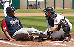 Reno Aces' Konrad Schmidt gets Tacoma Rainiers' Carlos Peguero out at home during a minor league baseball game in Reno, Nev., on Wednesday, May 30, 2012. The Aces won 13-5..Photo by Cathleen Allison