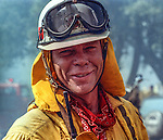 August 17, 1992 Angels Camp, California -- Old Gulch Fire—Murphys Fire Chief Tony Bacon in Fricot City.  The Old Gulch Fire raged over some 18,000 acres, destroying 42 homes while threatening the Mother Lode communities of Murphys, Sheep Ranch, Avery and Forest Meadows.