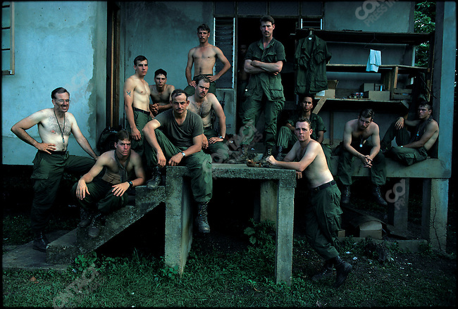 """US Marines stationed in Mount Fann after the """"anti-Marxist"""" invasion of the Caribbean island of Grenada, November 1983"""