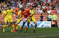 Blackpool's Curtis Tilt closely marked by Fleetwood Town's Ched Evans<br /> <br /> Photographer Stephen White/CameraSport<br /> <br /> The EFL Sky Bet League One - Blackpool v Fleetwood Town - Monday 22nd April 2019 - Bloomfield Road - Blackpool<br /> <br /> World Copyright © 2019 CameraSport. All rights reserved. 43 Linden Ave. Countesthorpe. Leicester. England. LE8 5PG - Tel: +44 (0) 116 277 4147 - admin@camerasport.com - www.camerasport.com