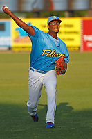 Myrtle Beach Pelicans pitcher Oscar De La Cruz (37) throwing in the outfield before a game against the Lynchburg Hillcats at Ticketreturn Field at Pelicans Ballpark on April 14, 2017 in Myrtle Beach, South Carolina. Lynchburg defeated Myrtle Beach 5-2. (Robert Gurganus/Four Seam Images)