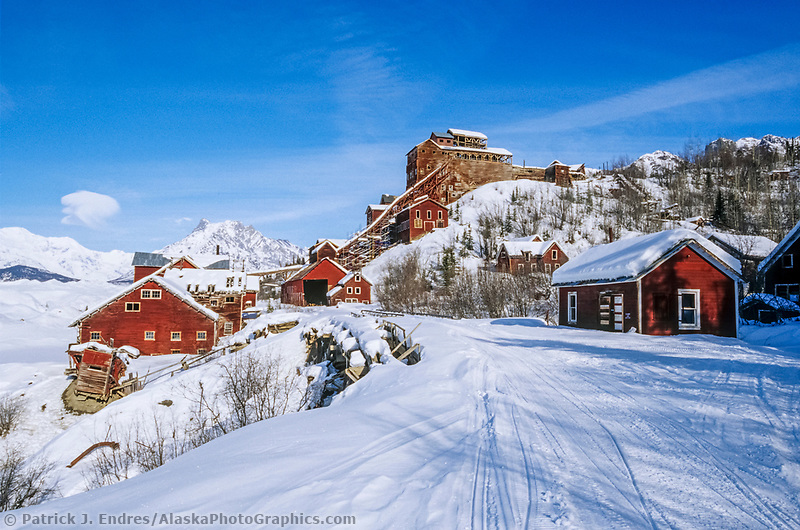 Winter at the historic kennicottt copper mine, Wrangell St. Elias National Park, Alaska.
