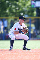 Camden Duzenack (41) of the Hillsboro Hops in the field during a game against the Spokane Indians at Ron Tonkin Field on July 22, 2017 in Hillsboro, Oregon. Spokane defeated Hillsboro, 11-4. (Larry Goren/Four Seam Images)