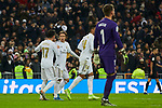Lucas Vazquez and Luka Modric of Real Madrid celebrate goal during La Liga match between Real Madrid and Sevilla FC at Santiago Bernabeu Stadium in Madrid, Spain. January 18, 2020. (ALTERPHOTOS/A. Perez Meca)