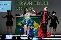 SÃO PAULO, SP, 06.03.2016 - FWPS-EDSON EDDEL - Modelo durante desfile da grife Edson Eddel no Fashion Weekend Plus Size - Inverno 2016, no Teatro APCD no bairro de Santana na região norte de São Paulo, neste domingo, 06. (Foto: Vanessa Carvalho/Brazil Photo Press)