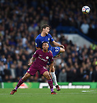 Andreas Christensen of Chelsea is challenged by Gabriel Jesus of Manchester City during the premier league match at the Stamford Bridge stadium, London. Picture date 30th September 2017. Picture credit should read: Robin Parker/Sportimage